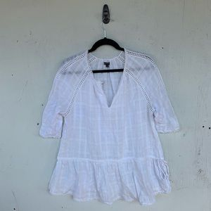 Who What Wear White Peasant Sheer Blouse